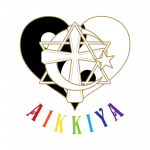 Heart, Yin and Yang, Cross, Star of David, Cross, Half moon and star inbeded with each other. The name Aikkiya underneath with rainbow colours