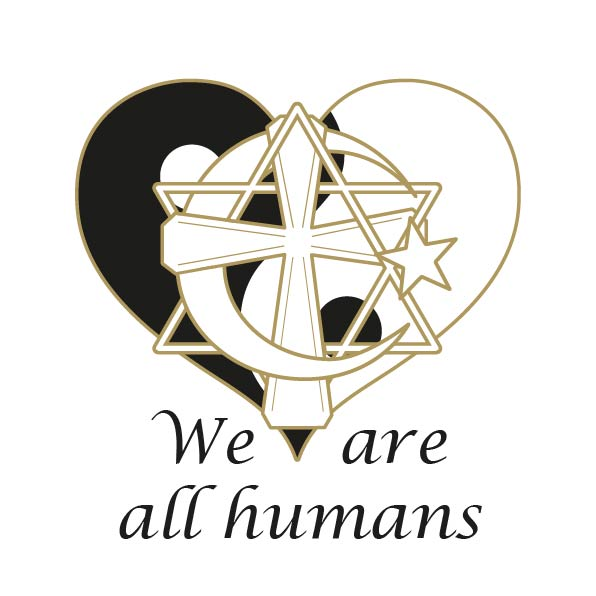 "Heart in gold, Yin and Yang black and white, Cross in gold, Star of David in gold, Half moon and star in gold inbeded with each other. ""We are all humans"" underneath the logo in black"