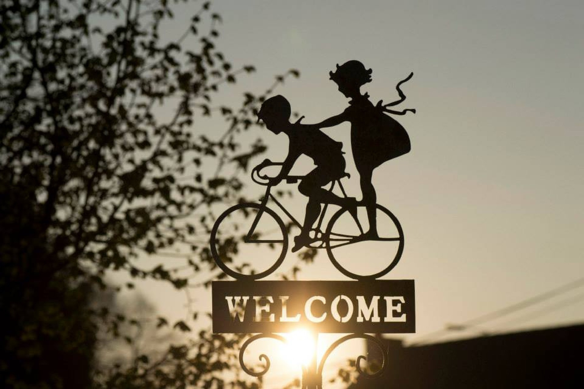 Welcome on a bicycle in the air