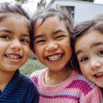 Happy smiles among tree friends